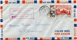 COMORES LETTRE PAR AVION DEPART DZAOUDZI 23 JUIL 54 COMORES POUR L'ILE TROMELIN - Comores (1950-1975)