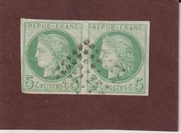 17 De 1872-77 - COLONIES FRANÇAISE - Cérès - 1 Belle Paire Oblitérée . 5c. Vert Sur Azuré - Voir Les 2 Scannes - Cérès