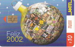 Nº 214 (CHIP ROJO) TARJETA DE URUGUAY DE NAVIDAD - FELIZ 2002 (CHRISTMAS) - Christmas