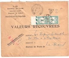 FERRYVILLE Tunisie Valeurs Recouvrées 1494 Régence Lettre Entière Ob 1933 Taxe 60 X 2 Ob Le Mans - Postage Due