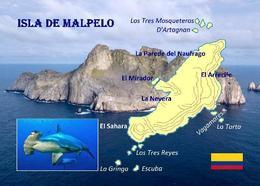 Colombia Malpelo MAP Island UNESCO Colombia New Postcard - Colombia
