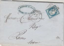 Yvert 60C Lettre Entête Robert De Massy Alcool Rocourt ST QUENTIN Aisne 27/2/1875 GC 3827 à Chaudron Reims Marne - 1849-1876: Periodo Clásico
