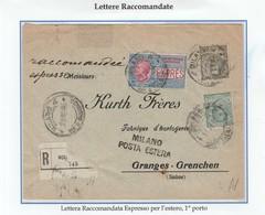 REGNO 057 - Lettera Racc.Espresso Per L'estero, Viagg. Nel 1916 Da Milano A Granges-Grenchen (Svizzera) - Poststempel