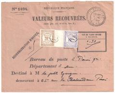 LA FERRIÈRE Isère Lettre Entières VALEURS RECOUVRÉES Ob 1922 FB 84 Taxe Recou Yv Taxe 44 45 Ob IX Cercle - Postage Due