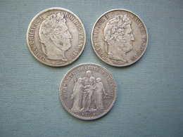 LOT DE 3 X 5F ARGENT - LOUIS PHILIPPE I, HERCULE ( 1 ) - J. 5 Francs