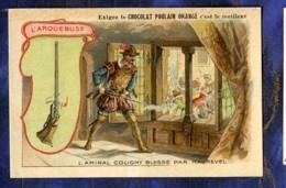 Chromo Poulain Orange Armes N�4 Arquebuse Coligny Maurevel Musket Old Trade Card - Poulain