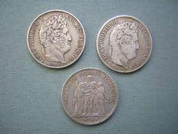 LOT DE 3 X 5F ARGENT - LOUIS PHILIPPE I, HERCULE ( 3 ) - J. 5 Francs