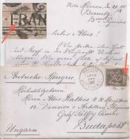 Brieflein  Biarritz - Budapest          1896 - 1876-1898 Sage (Type II)