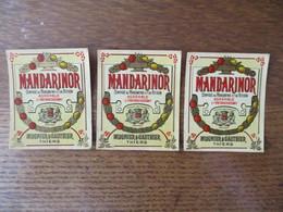 THIERS MUGNIER & GAUTHIER MANDARINOR COMPOSE DE MANDARINE ET DE CITRON AGREABLE ET RAFRAICHISSANT 3 PETITES ETIQUETTES - Other