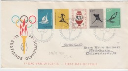 NEDERLAND FDC MICHEL 678/82 E 26 ZETIENDE OLYMPIADE 1956 - FDC