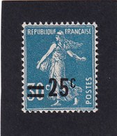 FRANCE 1926-27 - Y.T. N°217 - 25 C. Sur 30 C.Bleu - Type Semeuse Fond Plein (192) - Neuf** - TTB Etat - 1906-38 Säerin, Untergrund Glatt