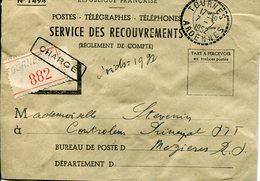 Ardennes. TOURNES. Lettre Chargée 19gr (5 Cachets De Cire Postes Au Verso) - 1921-1960: Période Moderne