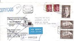 ESPAGNE AFFRANCHISSEMENT COMPOSE SUR LETTRE RECOMMANDEE DE BENIGANIM POUR LA FRANCE 1997 - 1991-00 Lettres