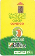 TARJETA DE EL SALVADOR DE PUBLITEL DE $3 DE 50 AÑOS SUPER SELECTOS - Salvador