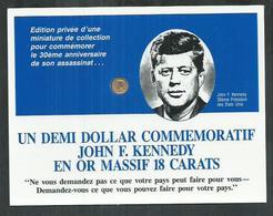 Demi Dollar Commemoratif John F Kennedy En Or Massif 18 Carats - Etats-Unis