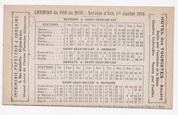 CALENDRIER DES MARAIS 1916 Et Horaires Chemin De Fer De Bayonne à Hendaye - Calendriers