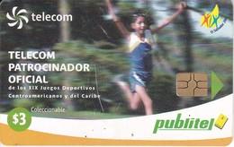 TARJETA DE EL SALVADOR DE PUBLITEL DE $3 DE ATLETISMO - JUEGOS CENTROAMERICANOS Y CARIBE - Salvador