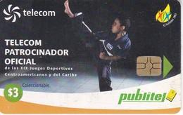 TARJETA DE EL SALVADOR DE PUBLITEL DE $3 DE KARATE - JUEGOS CENTROAMERICANOS Y CARIBE - El Salvador