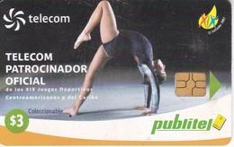 TARJETA DE EL SALVADOR DE PUBLITEL DE $3 DE GIMNASIA - JUEGOS CENTROAMERICANOS Y CARIBE - Salvador