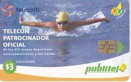 TARJETA DE EL SALVADOR DE PUBLITEL DE $3 DE NATACION - JUEGOS CENTROAMERICANOS Y CARIBE - El Salvador