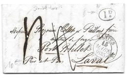 NANTES PORT BRILLET 1835 - POUR BAZOUIN COLLET ET PAILLARD MAITRES DE FORGES - 1 DECIME DOUBLE TAXE SUR LETTRE LAC - 1801-1848: Precursori XIX