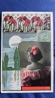 CPA FEMME EN PHOTO BUSTE NU  DANS UN DECOR FLORAL TRES ART NOUVEAU 1907 - Femmes