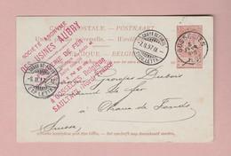 B - GOSSELIES 5 Fevr 1897 Carte Postale 10c Pour La Suisse Sté Fabricant Utensiles De Cuisine - Enteros Postales