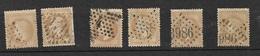 France   N°28A  Et 28Aa   6 Exemplaires   Oblitérés  AB  à  TB  S        ... Soldé à Moins De 5  % - 1863-1870 Napoleon III With Laurels