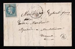 France Lettre Avec Texte De Valréas Vaucluse Boite Rurale A Identifiée Par Le Texte Grillon Pour Montelimar - 1863-1870 Napoléon III Lauré