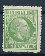 Nederlands Indië - 1868 - 10 Cent Willem III, Proef 20a - Geelgroen - Indes Néerlandaises