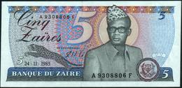 ZAIRE - 5 Zaires 24.11.1985 {Mobutu} UNC P.26 A - Zaire