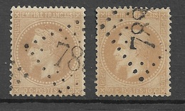 France   N°28Aa  Et 28Ba   Oblitérés  B/ TB  Gros Chiffres         ... Soldé à Moins De 10  % ! ! ! - 1863-1870 Napoleon III With Laurels