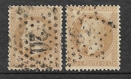 France   N°28A  Et 28B   Oblitérés  B/ TB  Gros Chiffres Et étoile         ... Soldé à Moins De 10  % ! ! ! - 1863-1870 Napoleon III With Laurels