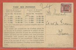 BELGIQUE PREO SUR CARTE DE 1925 POUR MONS - Roller Precancels 1920-29
