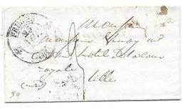 MAIRIE DE FRUGES LILLE 1845 - DE GUILLUY POUR VINOY MARCHAND VIN HOTEL DE LA COUR ROYALE - TAXE SUR LETTRE LAC - Marcofilia (sobres)