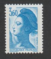 TIMBRE -  1987    -  N°  2485    -   Marianne De Delacroix   3 F 60 Bleu  -      Neuf Sans Charnière - France