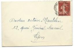 30c SEMEUSE SUR LETTRE / CLERMONT FERRAND POUR LYON  / 1941 - 1921-1960: Période Moderne