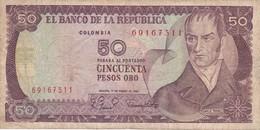 BILLETE DE COLOMBIA DE 50 PESOS DE ORO DEL AÑO 1980 (BANK NOTE) - Colombia