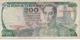 BILLETE DE COLOMBIA DE 200 PESOS DE ORO DEL AÑO 1980  (BANK NOTE) - Colombia