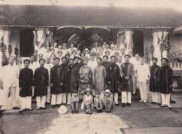 Grande Photo Cérémonie Française Et Vietnamienne Mandarins & Officiels Français Vietnam Indochine Tonkin Asie - Personnes Anonymes
