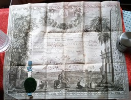 FRANC-MACONNERIE DIPLOME GRAND ORIENT PARIS 1823 CACHET CIRE VELIN ROSE-CROIX BIJOUTERIE HIRAM Freimaurer Freemasonry - Documents Historiques