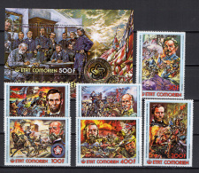Comoro Islands - Comores 1976 US Bicentennial, Paintings Set Of 6 + S/s MNH - Unabhängigkeit USA