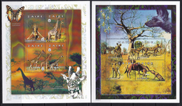 1997,Zaire,giraffe,lion,elephant,s/s+6 Sheetlets Perforated,mint/** - Stamps