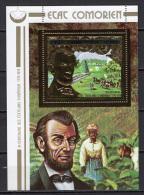 Comoro Islands - Comores 1976 US Bicentennial, Lincoln Gold S/s MNH - Unabhängigkeit USA