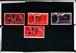 93622) ITALIA-Trieste -AMG FT-Democratica, Soprastampa Su Due Linee - ESPRESSI - 1947 - 4 VALORI-MNH** - 7. Trieste