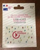 CARTE MUSIQUE BLANCHE CARTE CADEAU FRANCE PAS TÉLÉCARTE QUE POUR LA COLLECTION - Tarjetas De Regalo