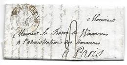 THIEPVAL PARIS 1831 - POUR LE BARON DE WASSERVAS ADMINISTRATION DES DOUANES - TAXE SUR LETTRE LAC - 1801-1848: Précurseurs XIX