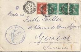 Intérnés Civils  Villefranche De Rouerbue - Genève           1916 - Covers & Documents