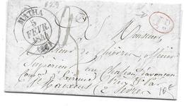 AUJAC EXIREUIL 1844 - CHATEAU D AVANCON M DE CHIEVRES OFFICIER SUPERIEUR  - 1 DECIME TAXE SUR LETTRE LAC - 1801-1848: Précurseurs XIX