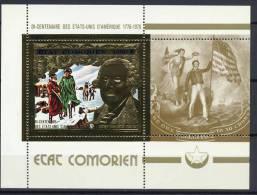 Comoro Islands, Comores 1976 US Bicentennial, George Washington Gold S/s MNH -scarce- - Unabhängigkeit USA
